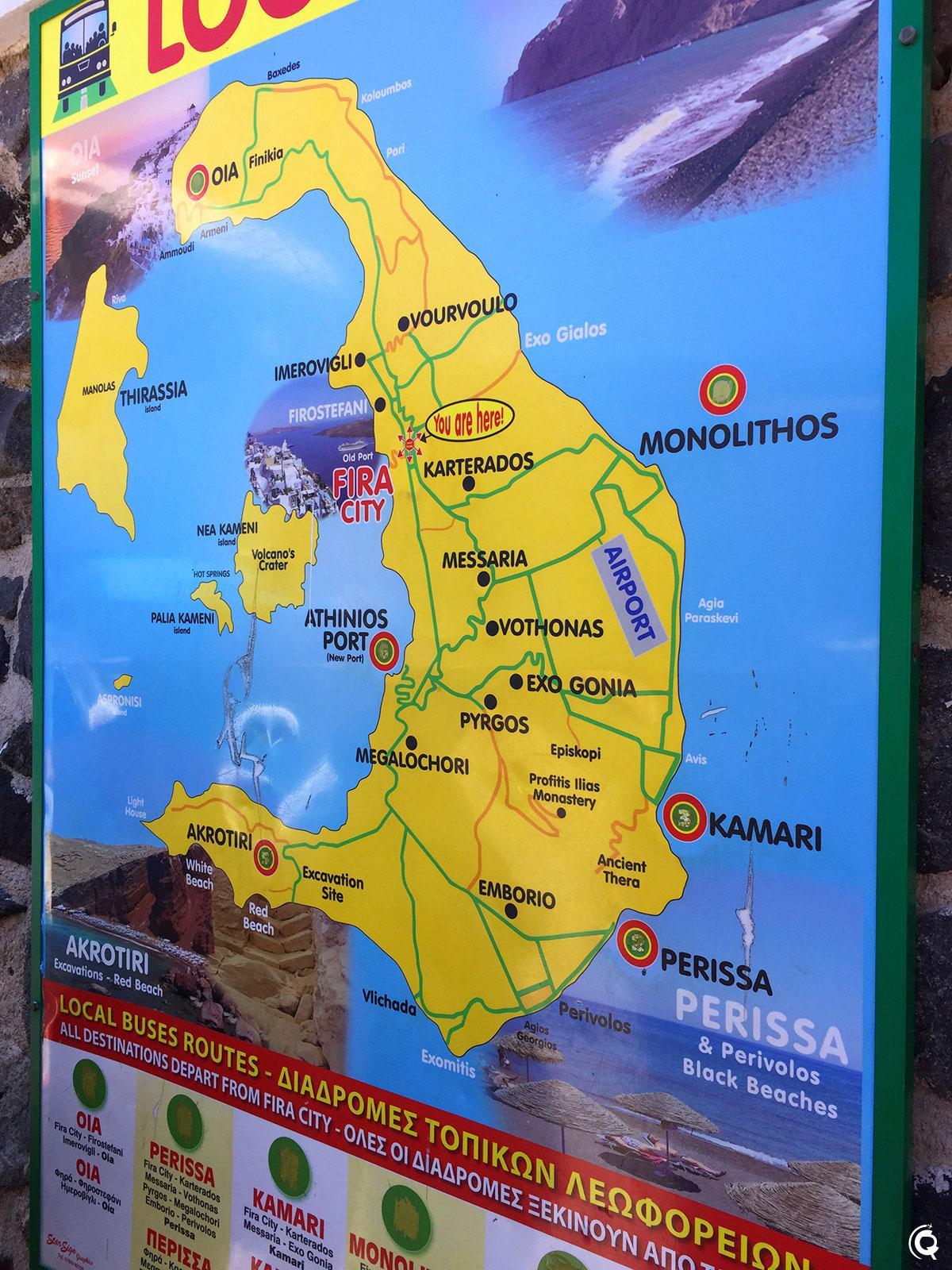 Le plan des bus de Santorin
