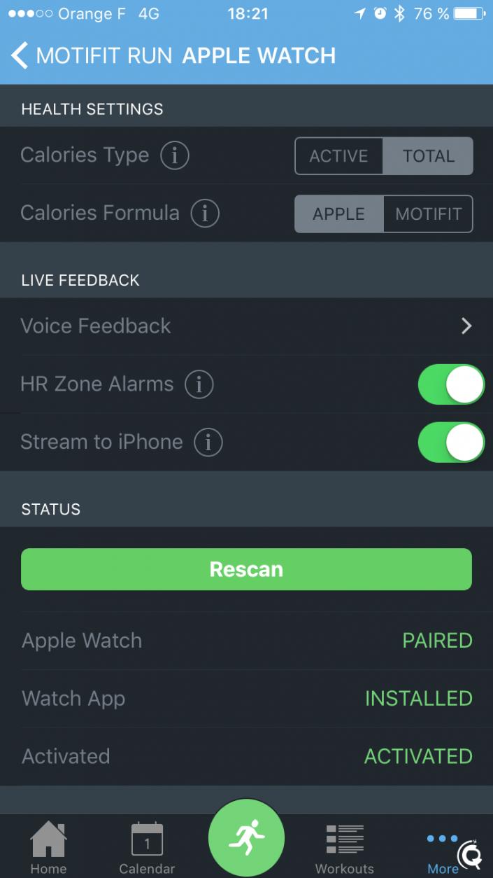 Les réglages de l'Apple Watch