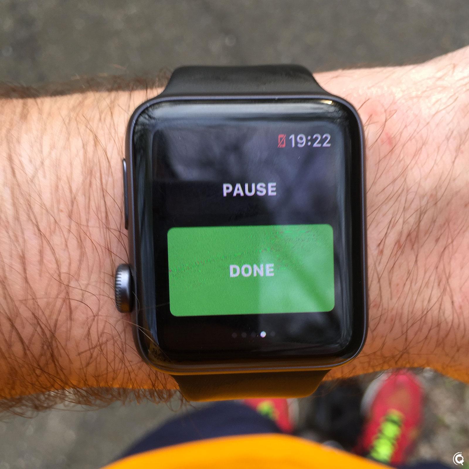 Quatrième écran qui permet de mettre en pause ou de mettre fin à la session