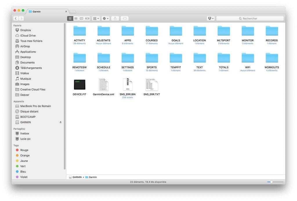 Dossier de la montre Garmin une fois branchée en USB
