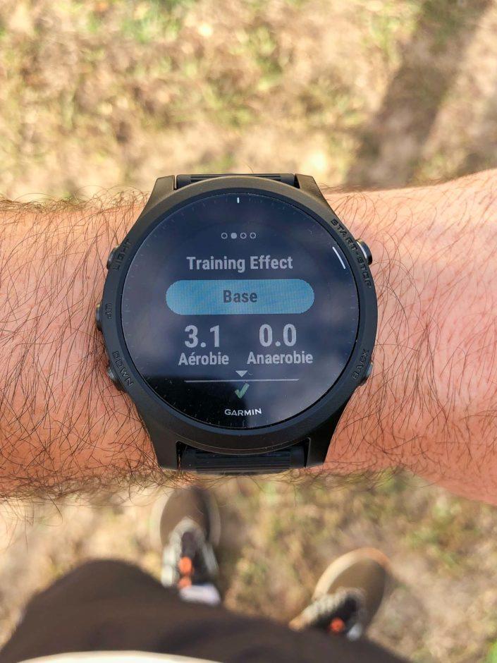 L'écran Training Effect qui indique l'impact de la session sur l'aérobie et l'anaérobie.