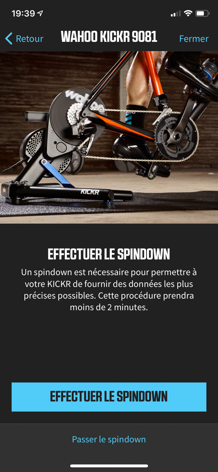 Application Wahoo Fitness sur iOS